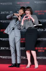 MILLA JOVOVICH at Resident Evil: The Final Chapter Press Conference in Seoul 01/13/2017
