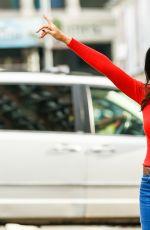 PADMA LAKSHMI Hailing a Cab in New York 01/12/2017