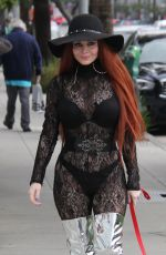 PHOEBE PRICE Walks Her Dog Out in Beverly Hills 01/09/2017