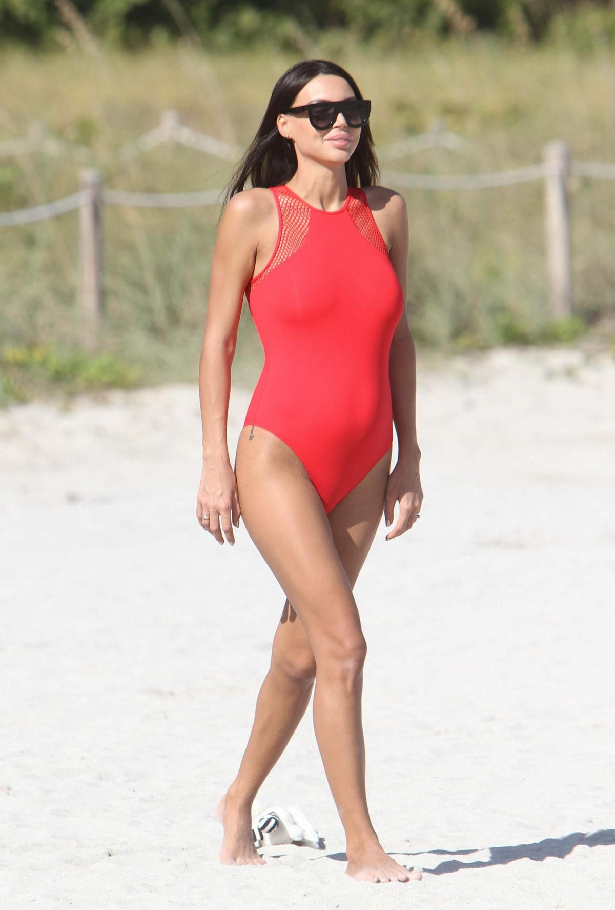 Pregnant OXANA SAMOYLOVA in Swimsuit at a Beach in Miami 01/05/2017