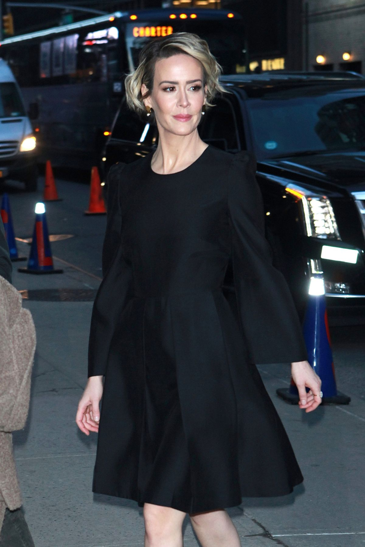 SARAH PAULSON Arrives at Late Show with Stephen Colbert in New York 01/16/2017