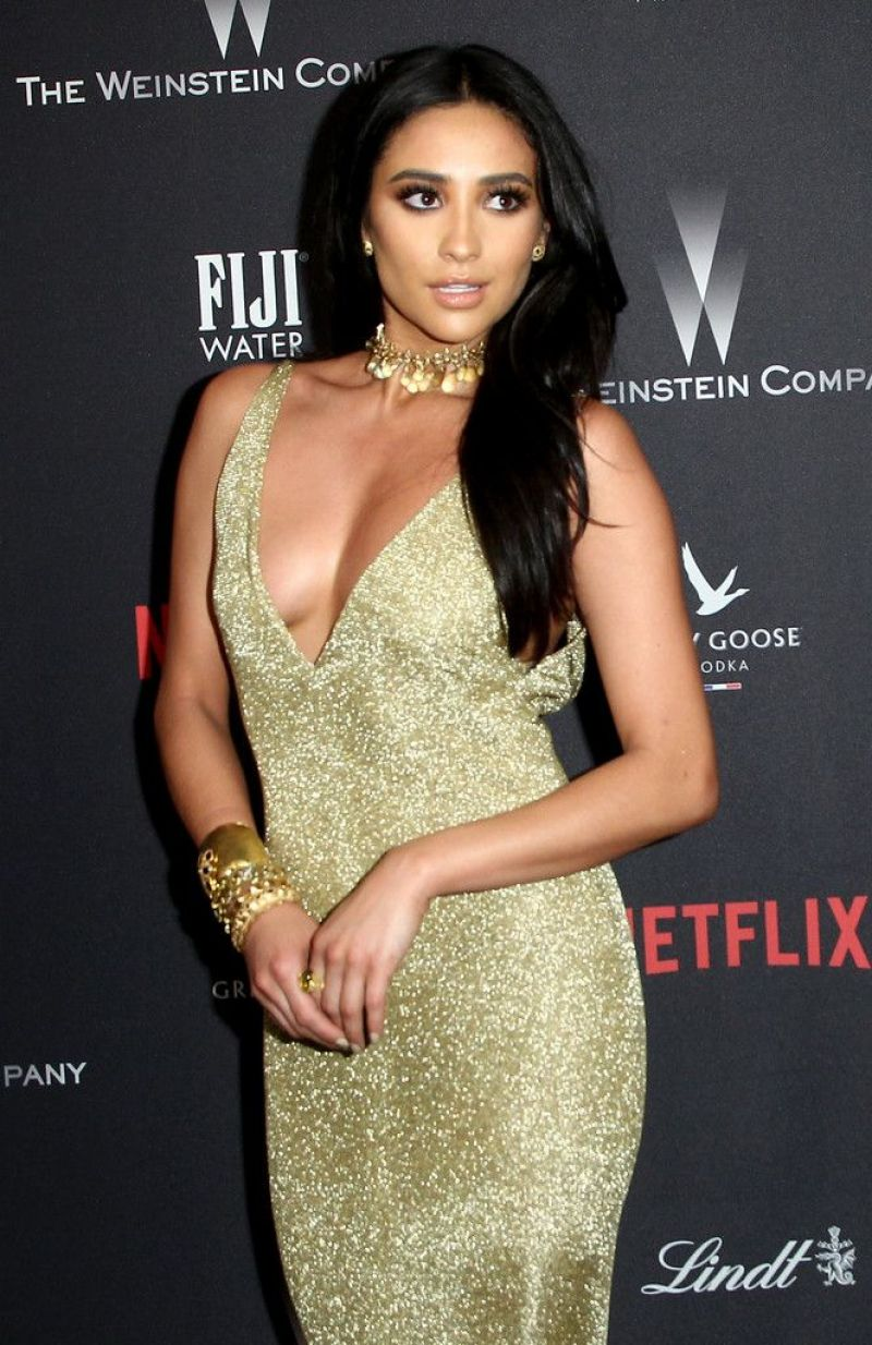 SHAY MITCHEL at Weinstein Company and Netflix Golden Globe Party in Beverly Hills 01/08/2017