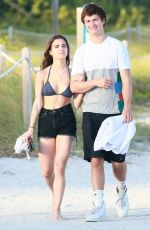 VIOLETTA KOMYSHAN in Bikini Top and Ansel Elgort Out in Miami Beach 01/01/2017