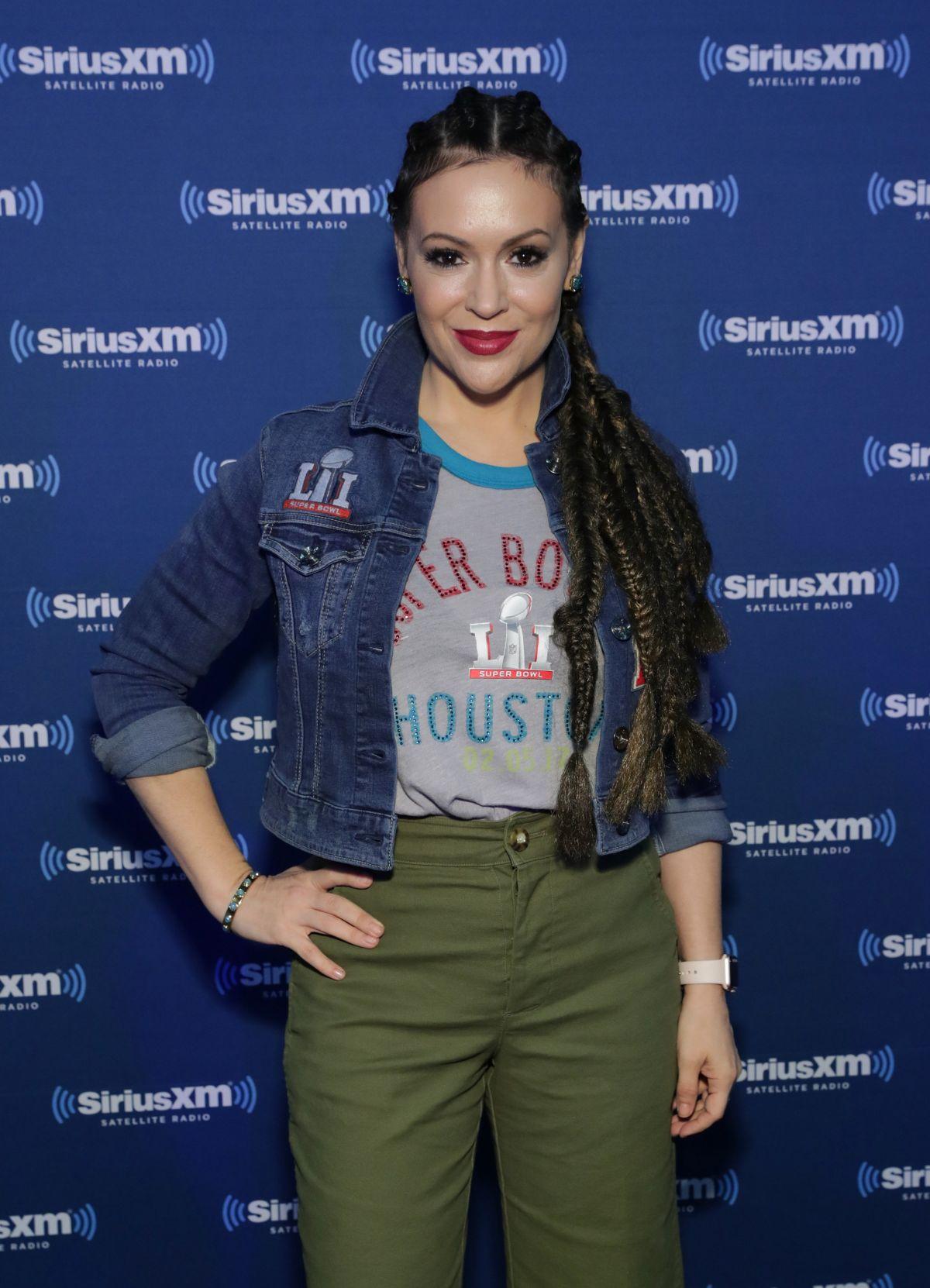 ALYSSA MILANO at SiriusXM at Super Bowl LI Radio Row in Houston 02/03/2017