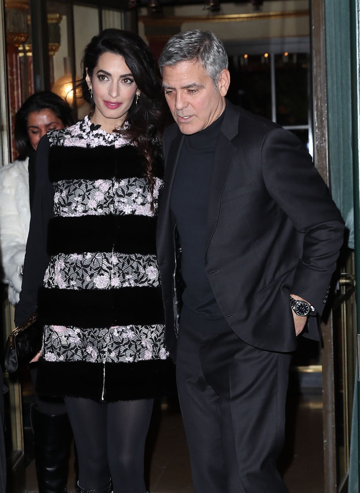 AMAL and George CLOONEY Leaves Laperouse Restaurant in Paris 02/25/2017