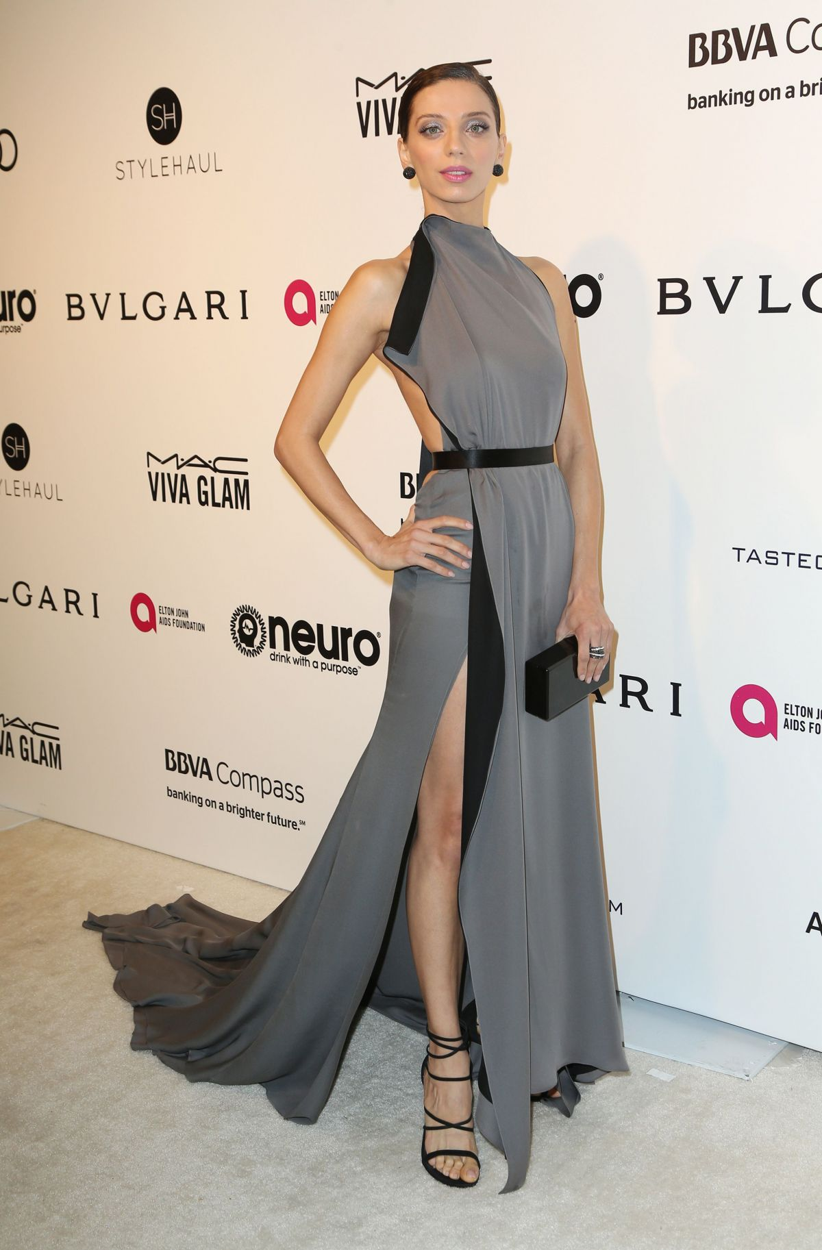 ANGELA SARAFYAN at 25th Annual Elton John Aids Foundation's Oscar Viewing Party in Hollywood 02/