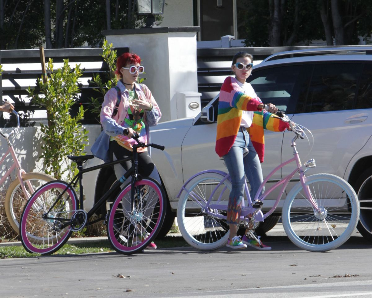 BELLA and DANI THORNE Out for Bike Ride in Los Angeles 02/12/2017
