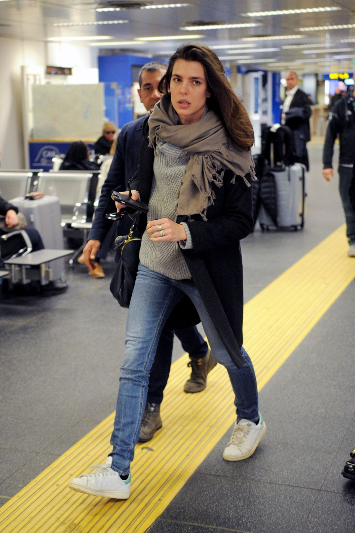 CHARLOTTE CASIRAGHI at Linate Airport in Milan 02/21/2017