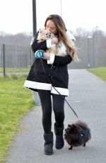 CHARLOTTE CROSBY Walks Her Dogs in a Park in Sunderland 02/28/201