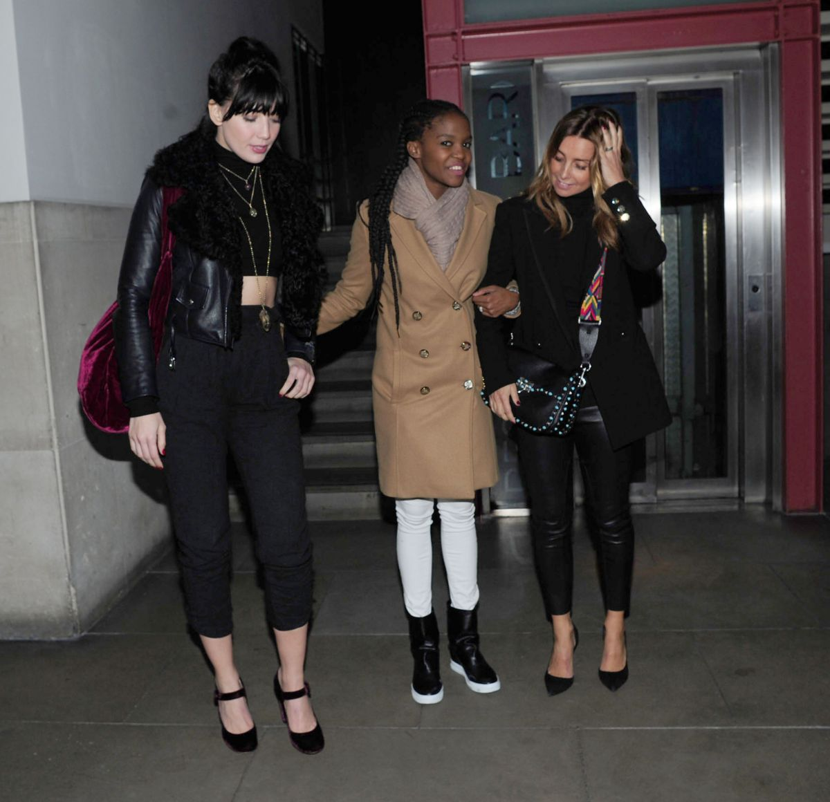 DIASY LOWE, OTI MABUSE and LOUISE REDKNAPP Night Out in London 02/24/2017