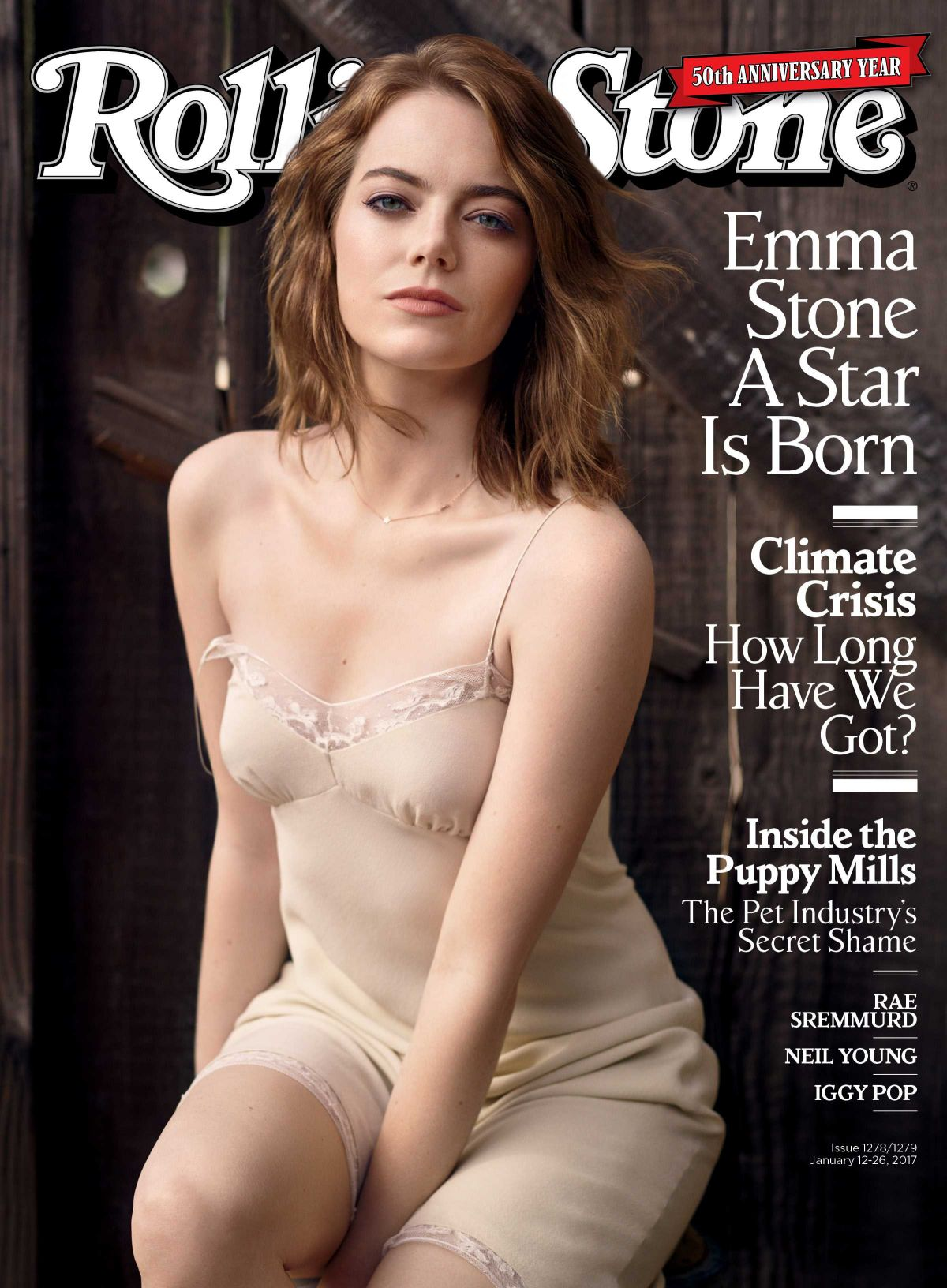 EMMA STONE in Rolling Stone Magazine, January 2017