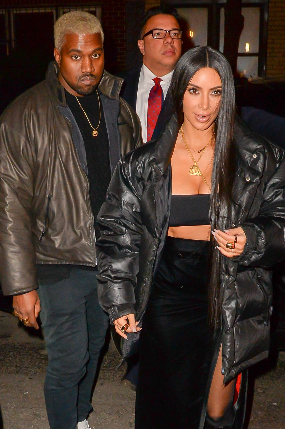KIM KARDASHIAN and Kanye West Out for Dinner in New York 02/14/2017