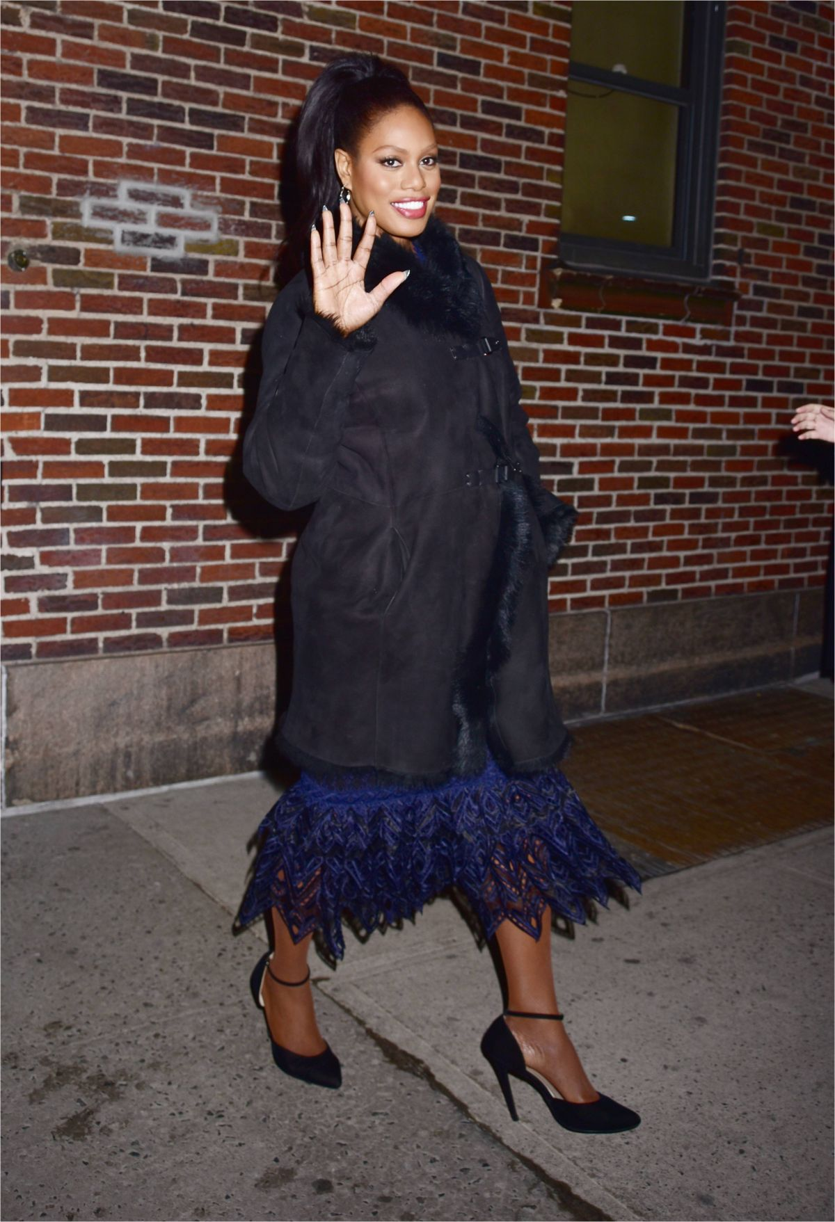 LAVERNE COX Leaves Late Show with Stephen Colbert in New York 02/13/2017