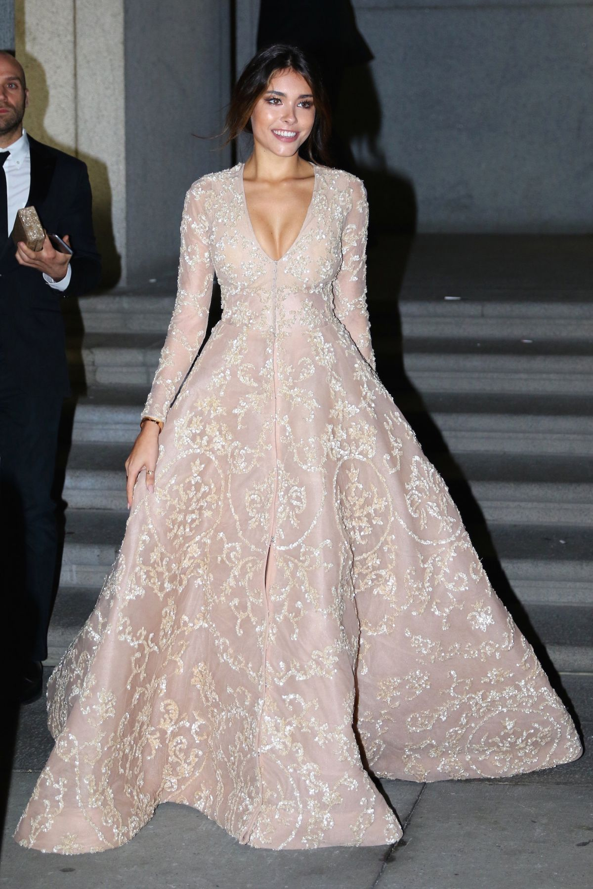 Madison Beer Nude Ball Gown Celebrity Prom Dress amfAR New York Gala
