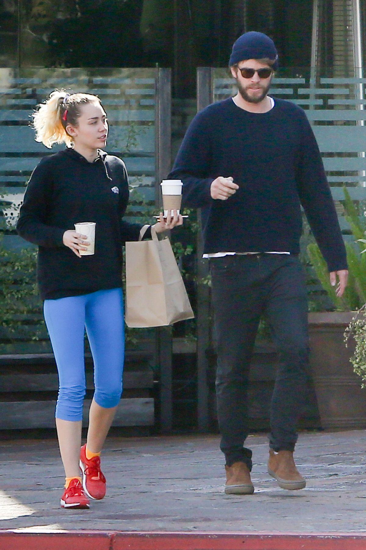 MILEY CYRUS and Liam Hemsworth Leaves Ollo Restaurant in Malibu 02/07/2017