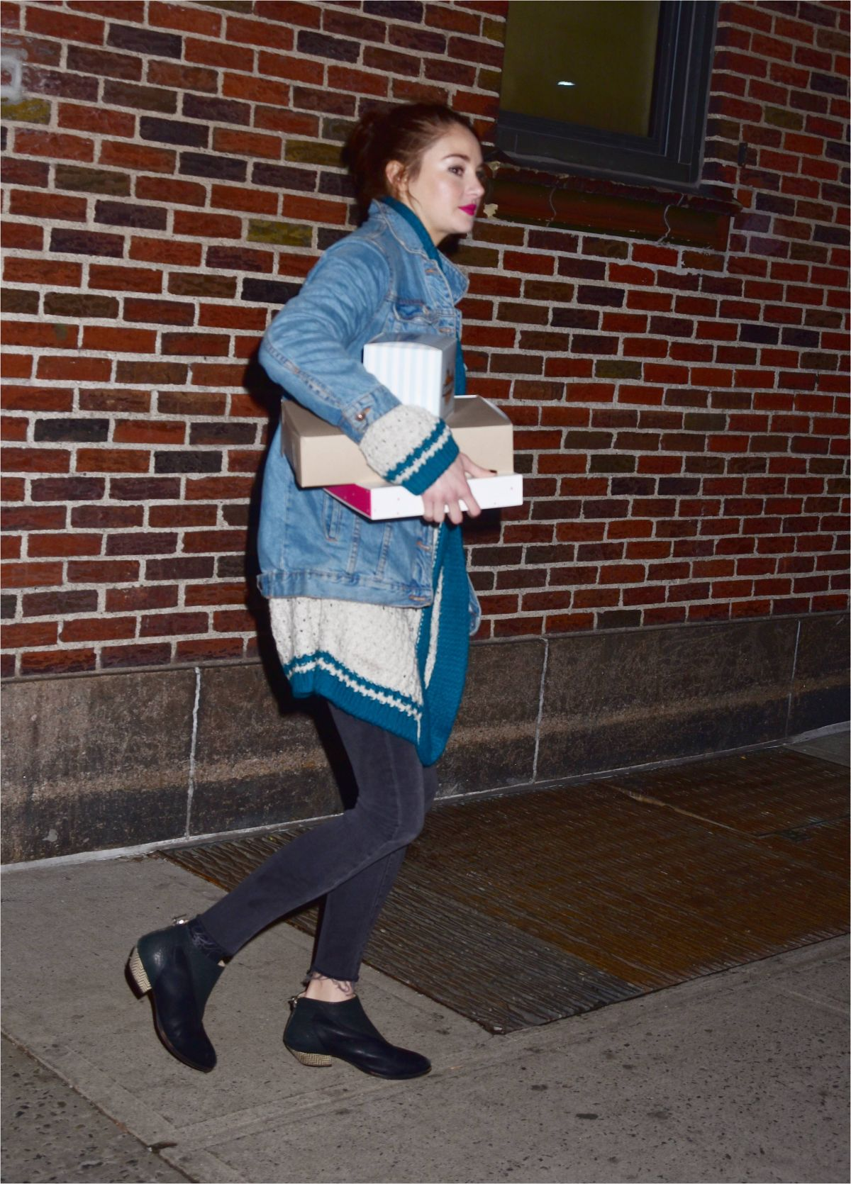 SHAILENE WOODLEY Leaves Late Show with Stephen Colbert 02/13/2017