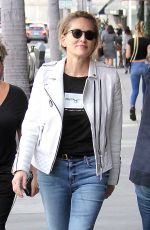 SHARON STONE at a Nail Salon in Beverly Hills 02/13/2017