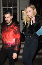 SOPHIE TURNER and Joe Jonas Leaves 34 Restaurant in London 02/23/2017