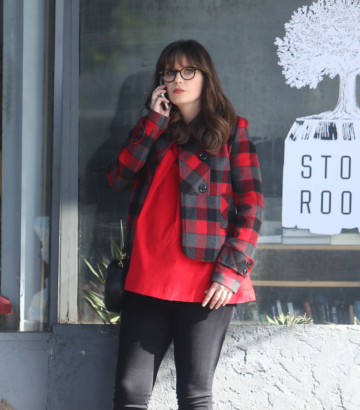 ZOOEY DESCHANEL on the Set of