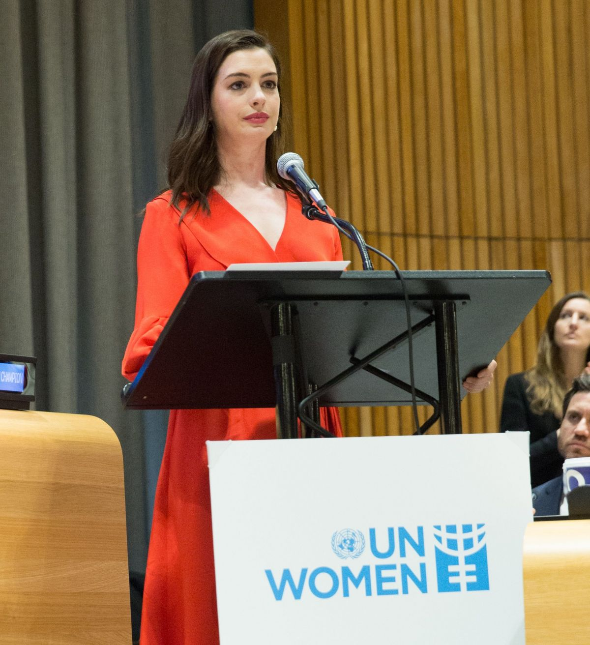 ANNE HATHAWAY Speaks At International Women's Day At