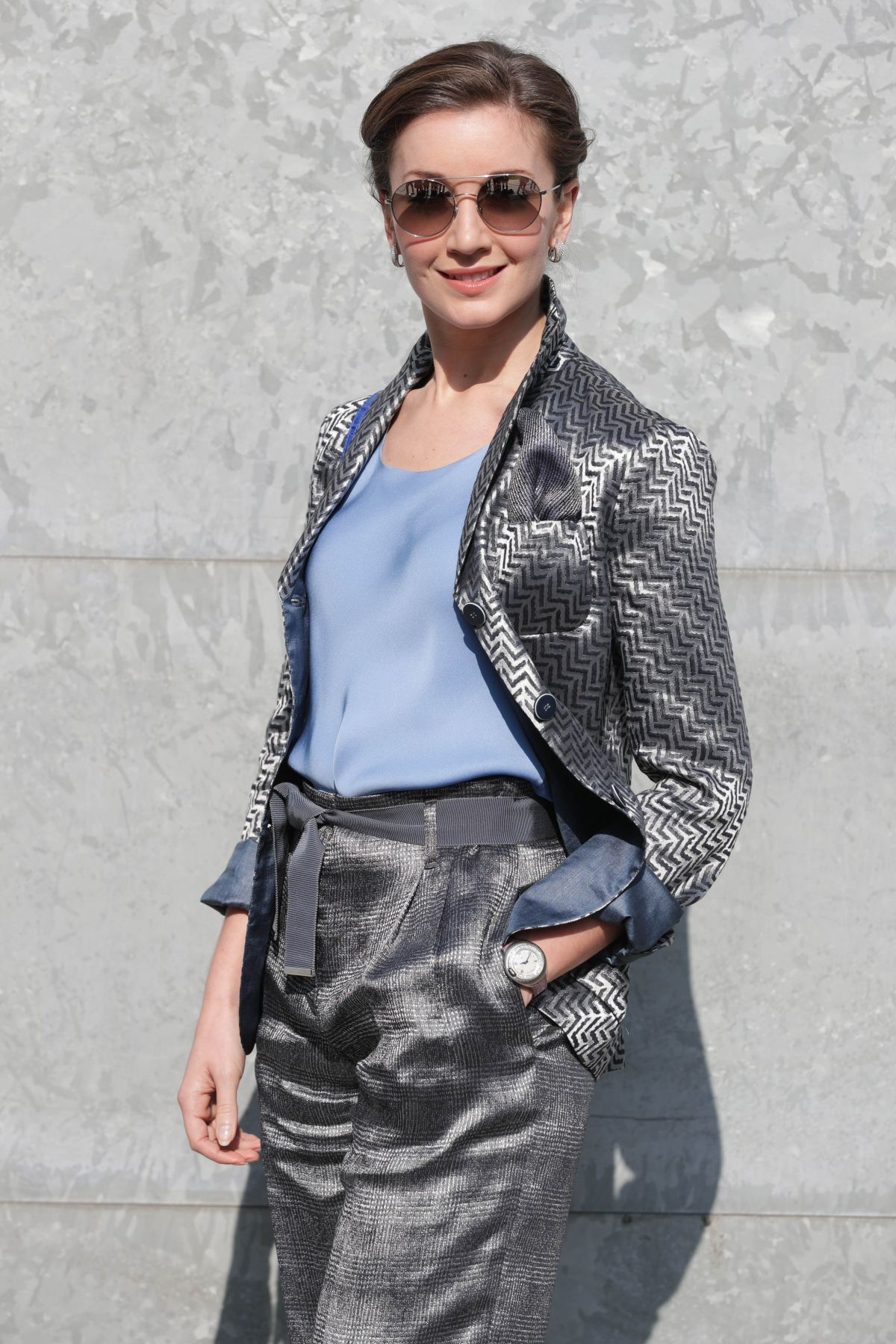 CARLY PAOLI Arrives at Armani Fashion Show in Milan 02/27/2017