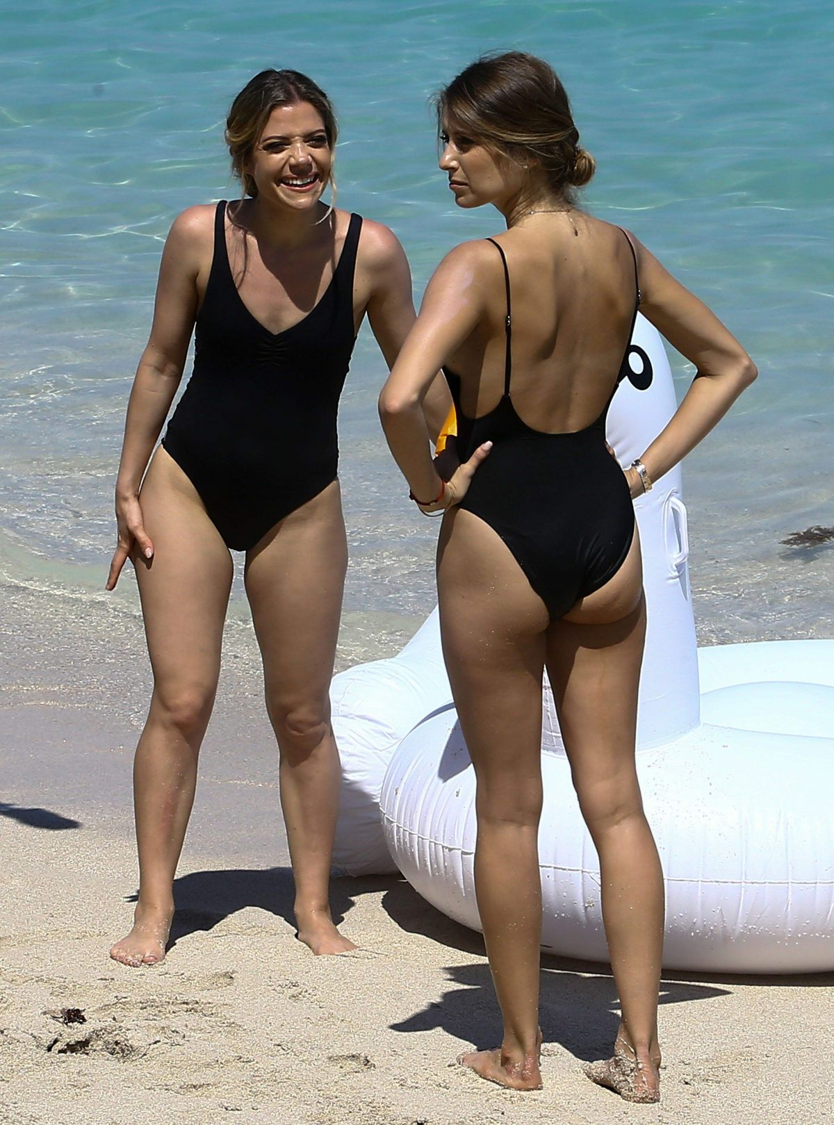 CATHY HUMMELS and Sister VANESSA FISCHER in Swimsuits at a Beach in Miami 03/22/2017
