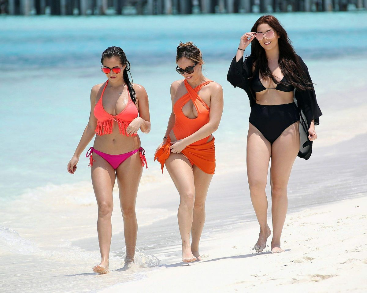 CHLOE, LAURYN and AMELIA GOODMAN in Bikinis at a Beach in Maldives 03/28/2017