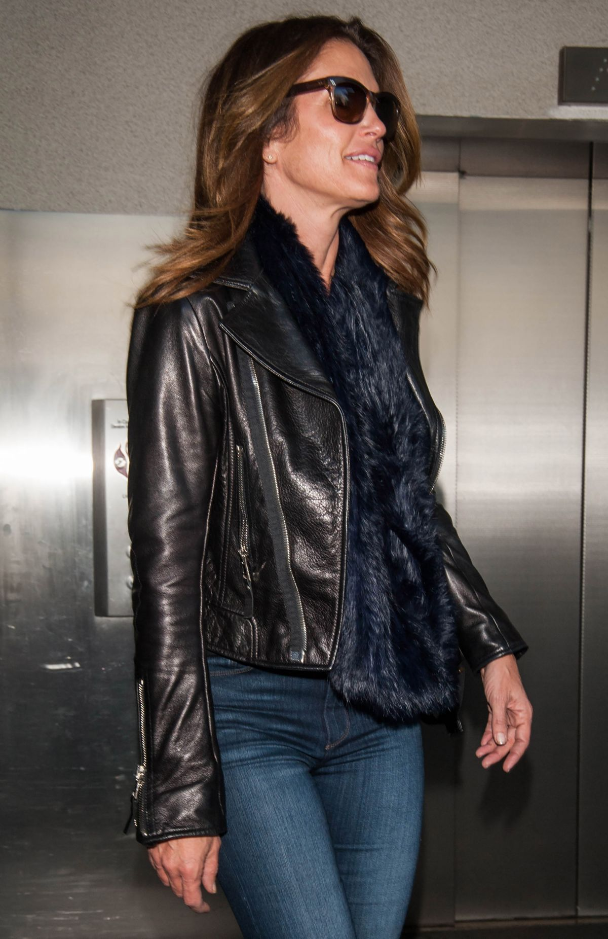 CINDY CRAWFORD at LAX Airport in Los Angeles 03/12/2017