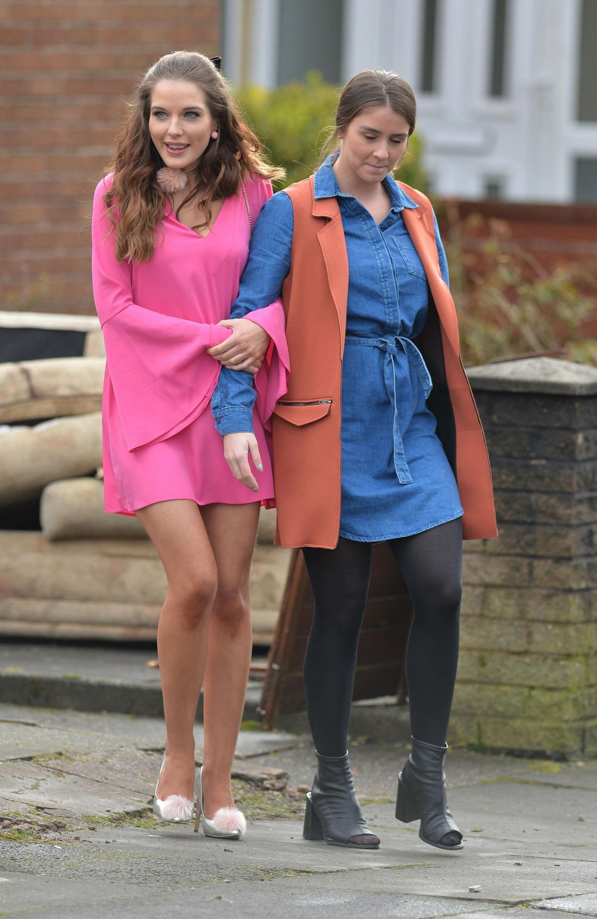 HELEN FLANAGAN and BROOK VINCENT on the Set of Coronation Street in Manchester 03/08/2017