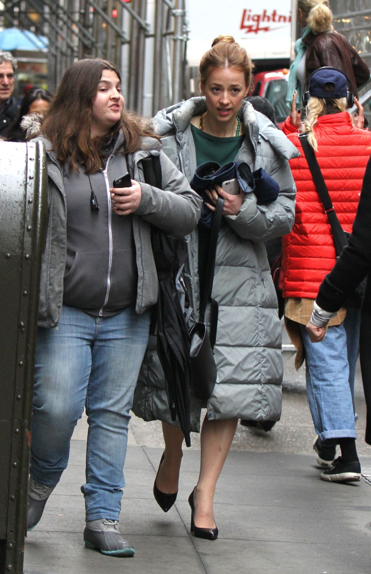 KARINE VANASSE on the Set of Salamander in Manhattan 03/28/2017