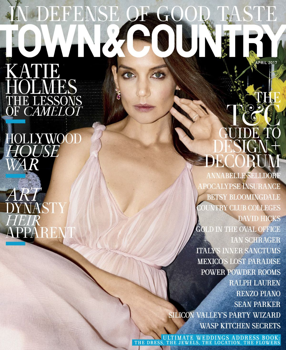 KATIE HOLEMS in Town & Country Magazine, April 2017