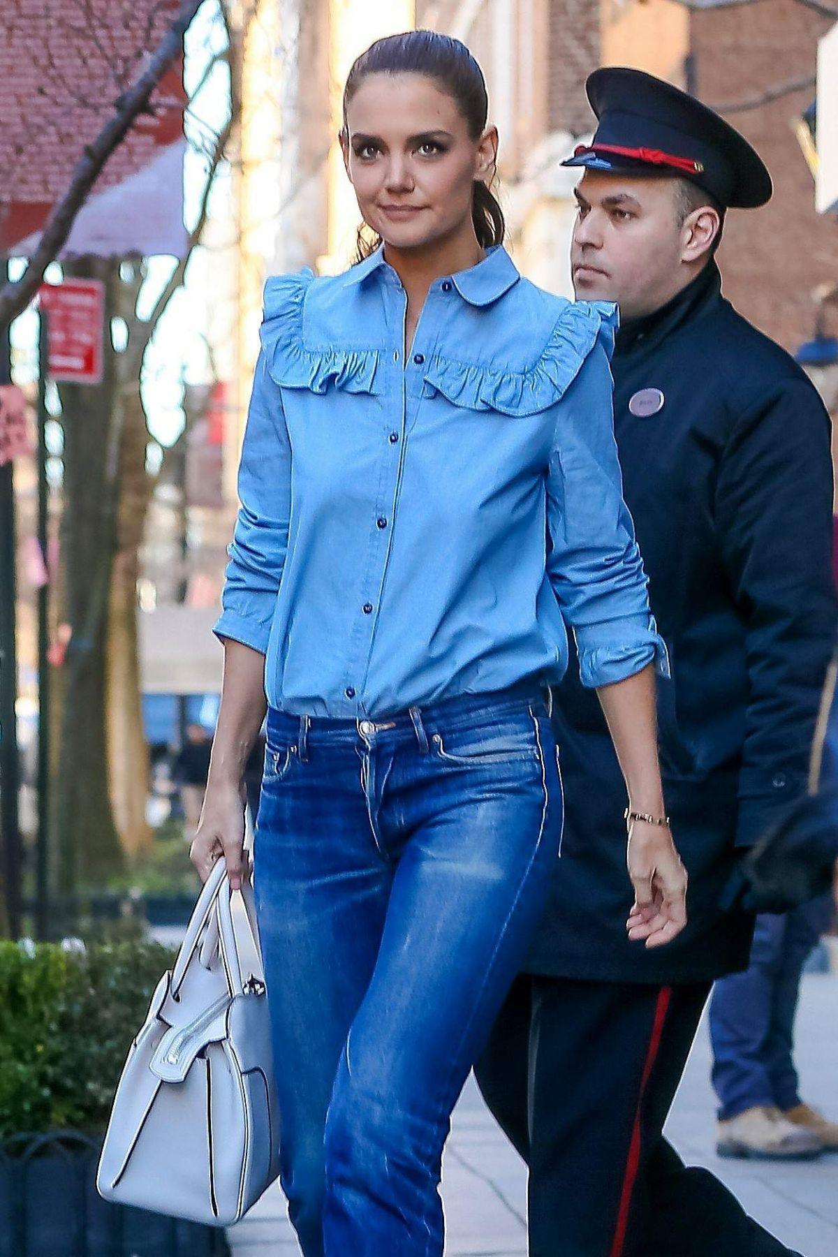 KATIE HOLMES in Jeans Out and About in New York 03/29/2017