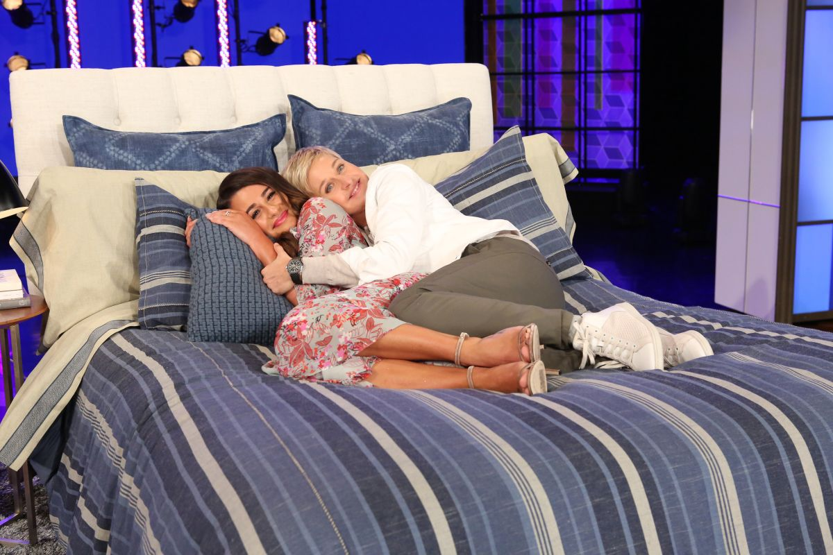 LEA MICHELE in Bed with ELLEN DEGENERES 03/15/2017