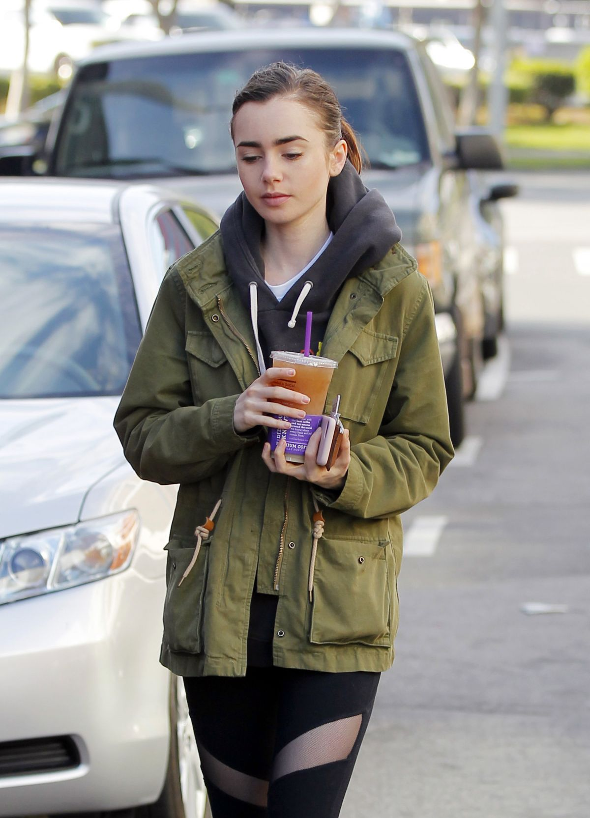 LILY COLLINS Out and About in Beverly Hills 03/25/2017