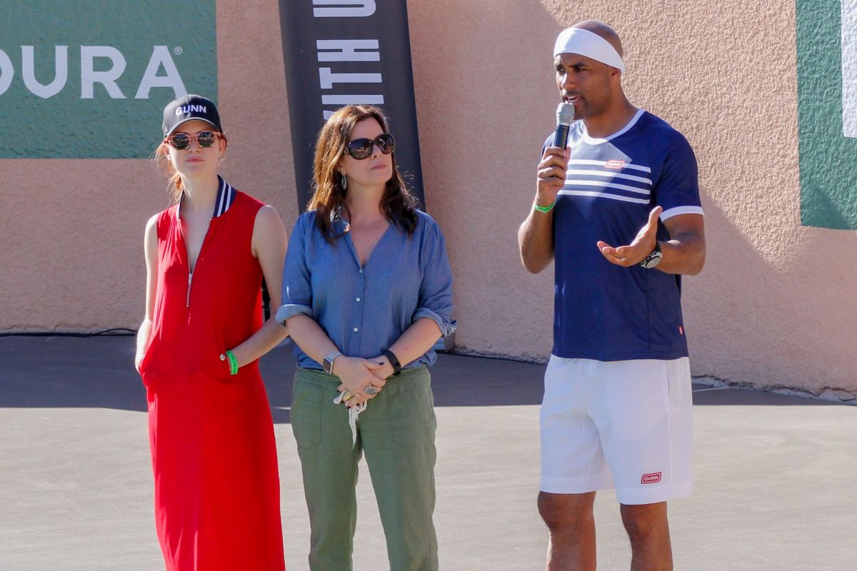 MARCIA GAY HARDEN and EMILY TYRA at 13th Annual Desert Smash Celebrity Tennis in Rancho Mirage 03/07/2017