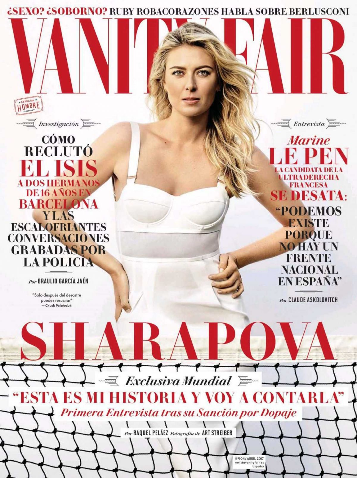 MARIA SHARAPOVA In Vanity Fair Magazine, Spain April 2017