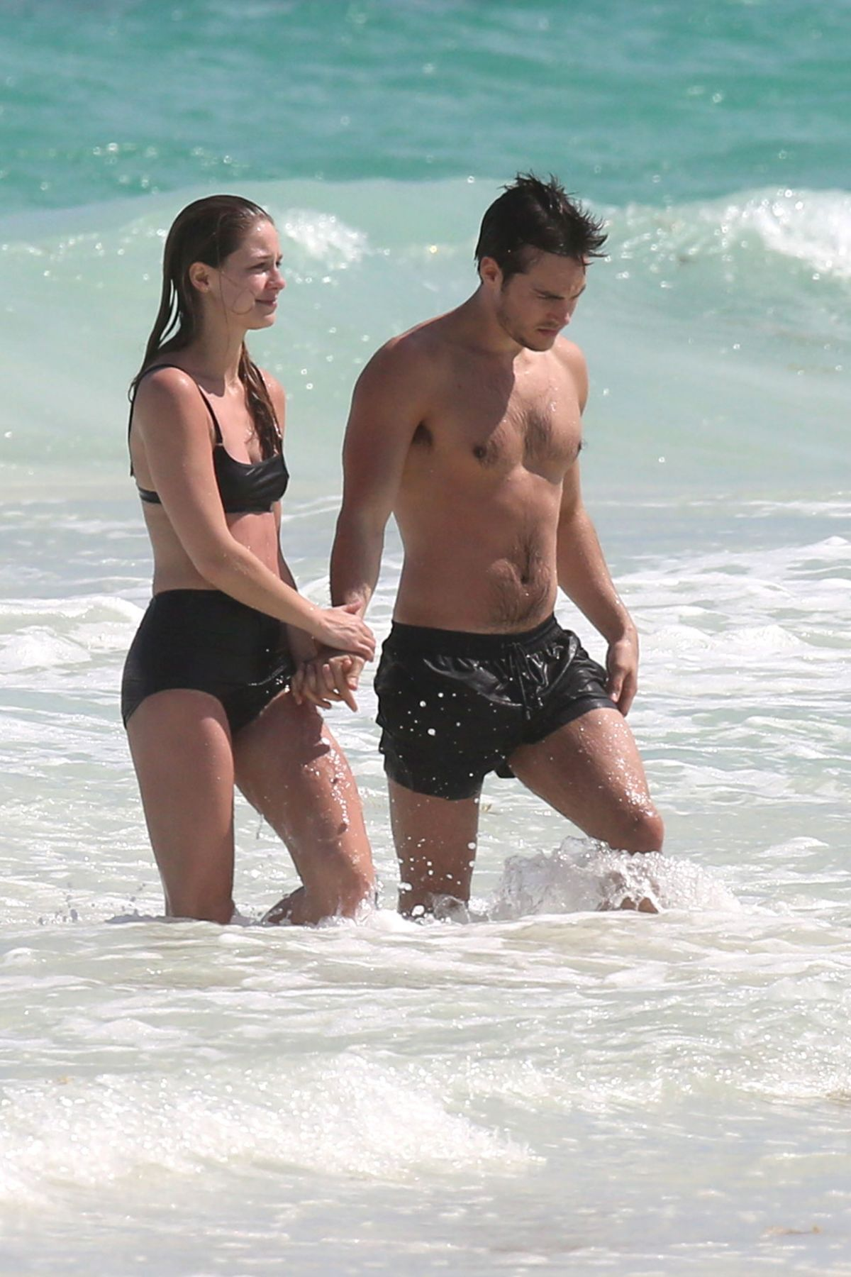 MELISSA BENOIST and Chris Wood at a Beach in Cancun 03/29/2017