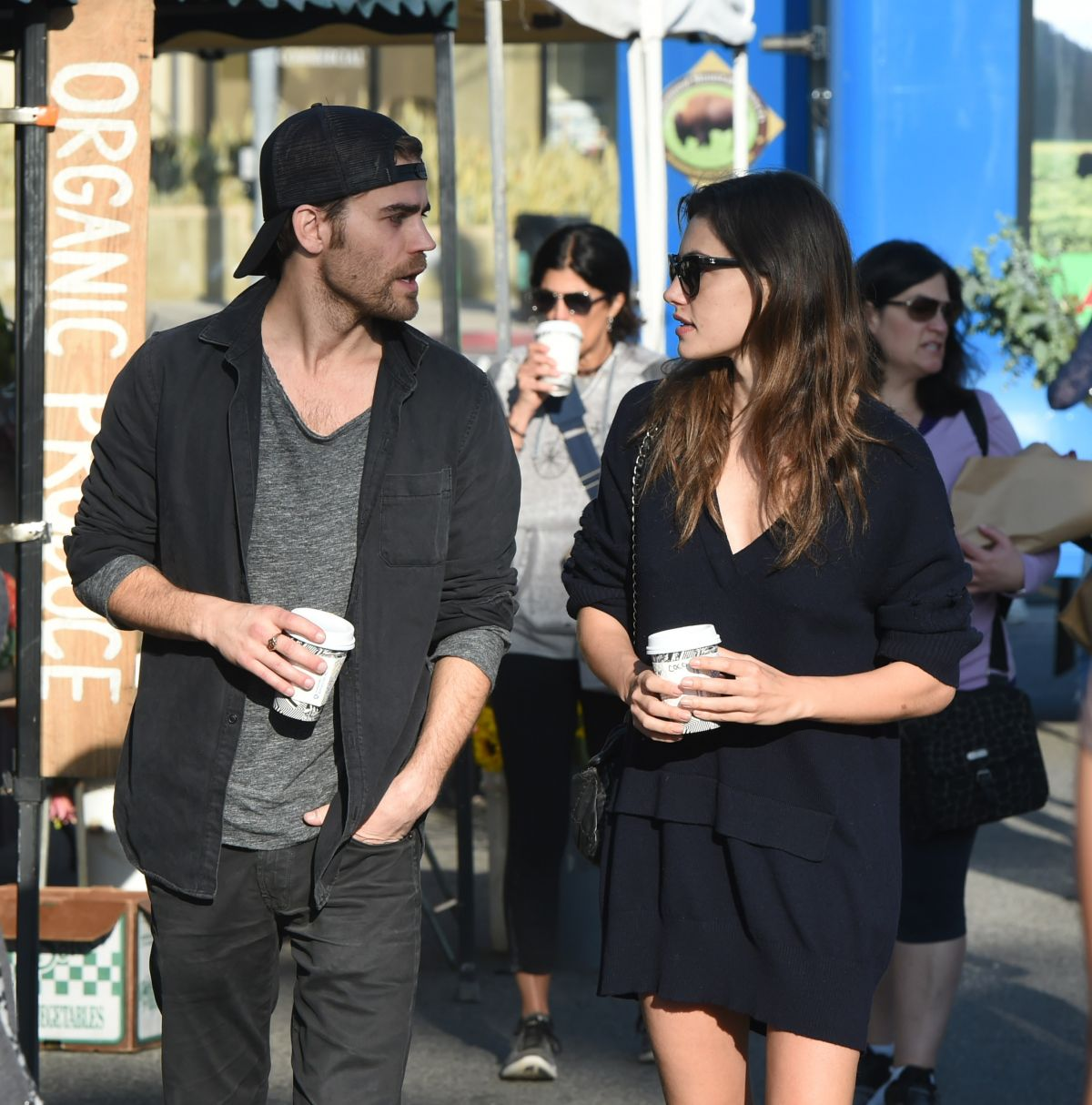 PHOEBE TONKIN and Paul Wesley Out at Farmers Market in Los Angeles 03/19/2017