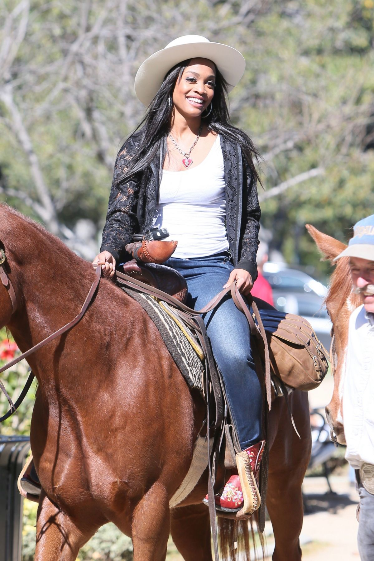 RACHEL LINDSAY Rides a Horse in Beverly Hills - march 23, 2017