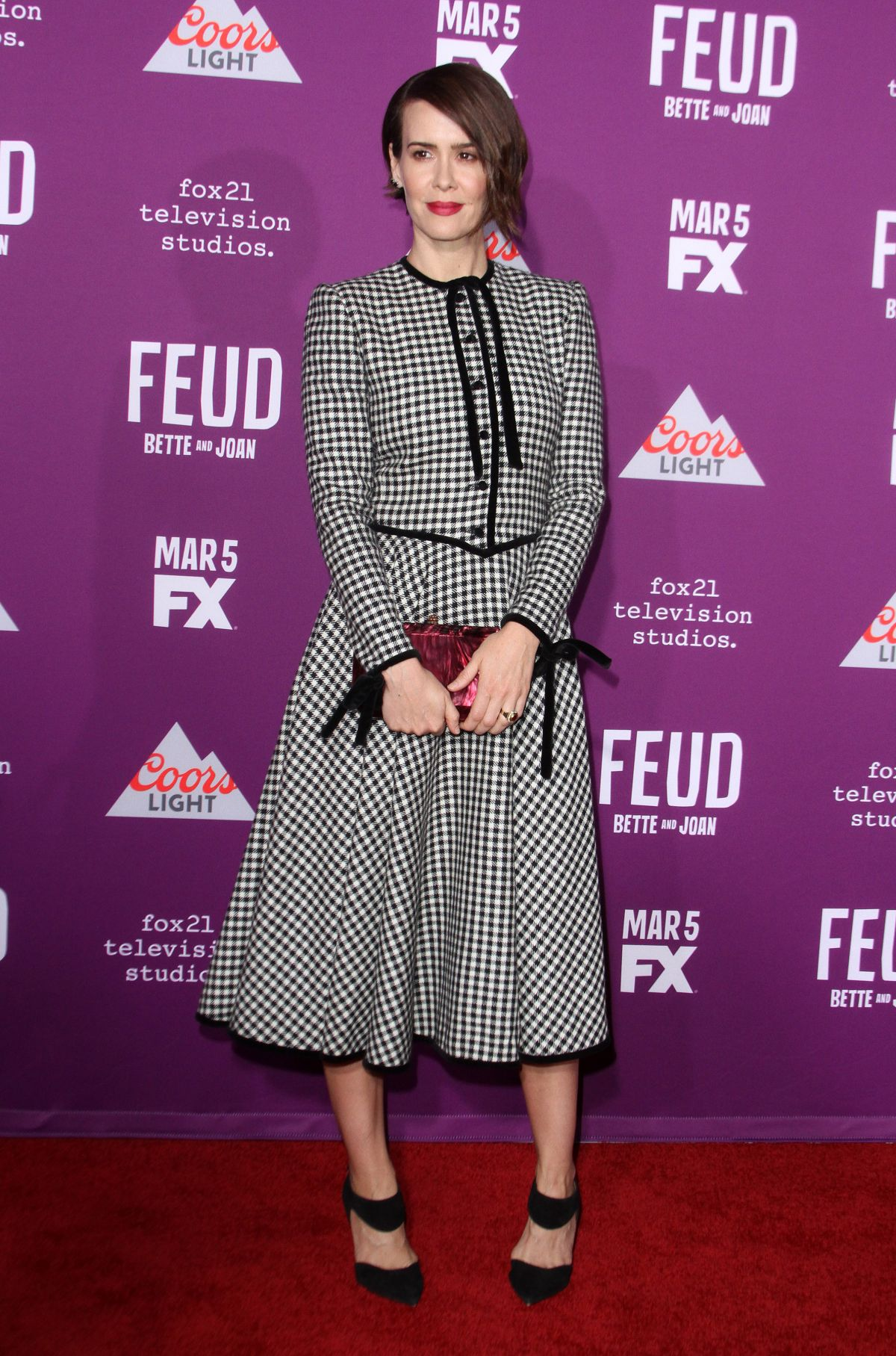 SARAH PAULSON at Feud: Bette and Joan Premiere in Los Angeles 03/01/2017