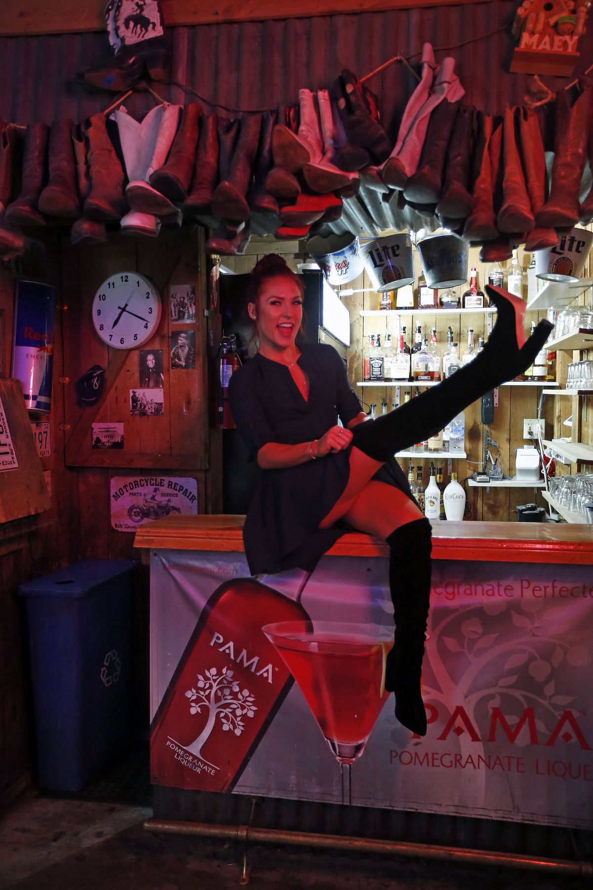 SHARNA BURGES on the Set of DWTS Segment at Cowboy Palace Saloon in Los Angeles 03/22/2017