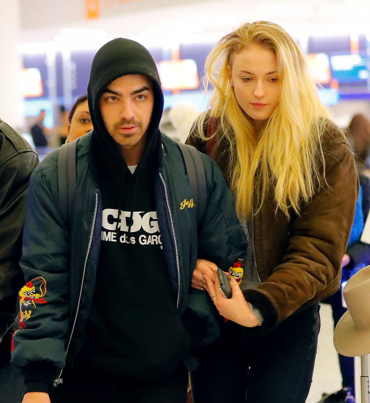 SOPHIE TURNER and Joe Jonas at at JFK Airport in New York 03/06/2017