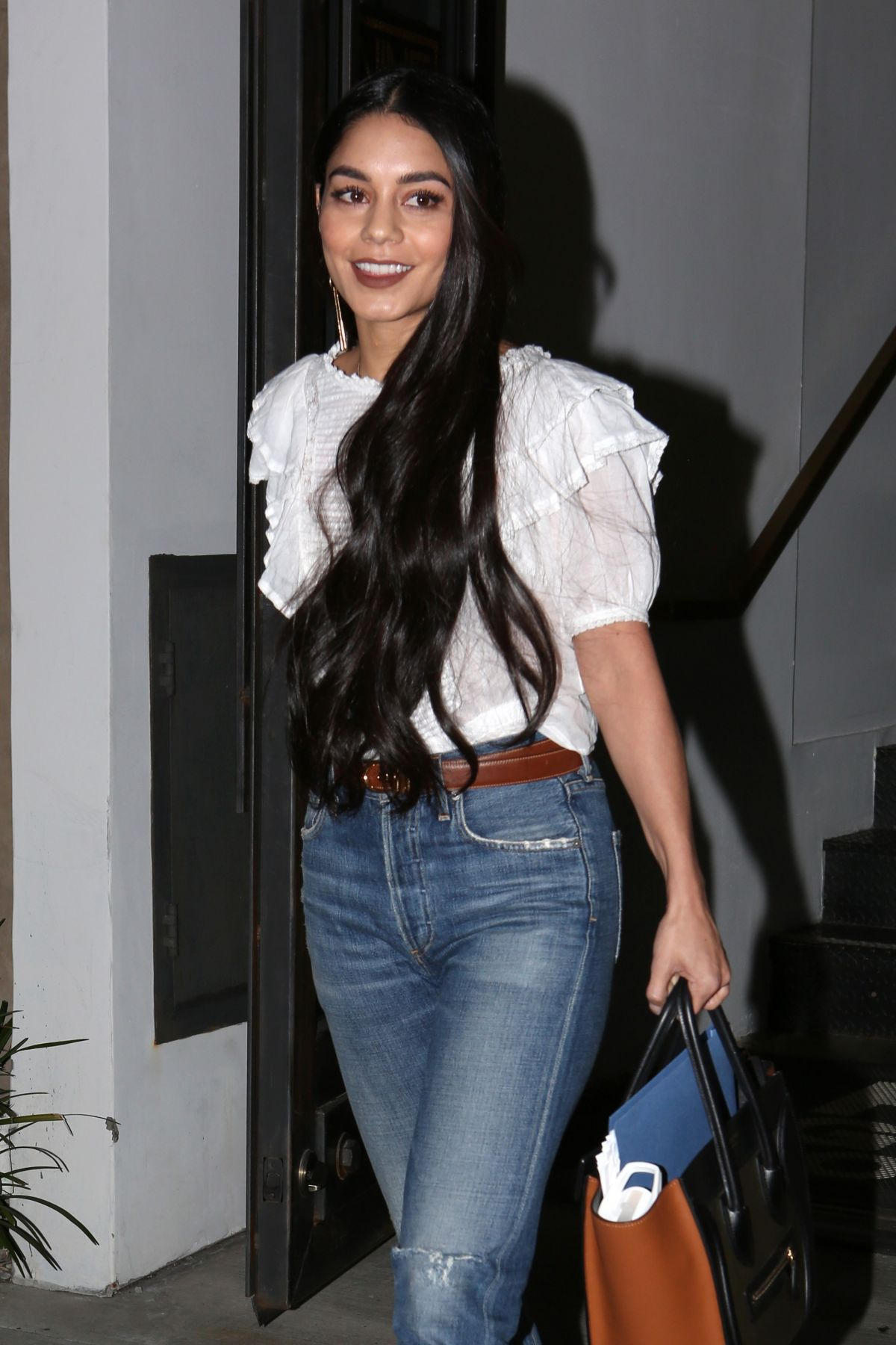 VANESSA HUDGENS Leave Nine Zero One Hair Salon in Los Angeles 03/15/2017