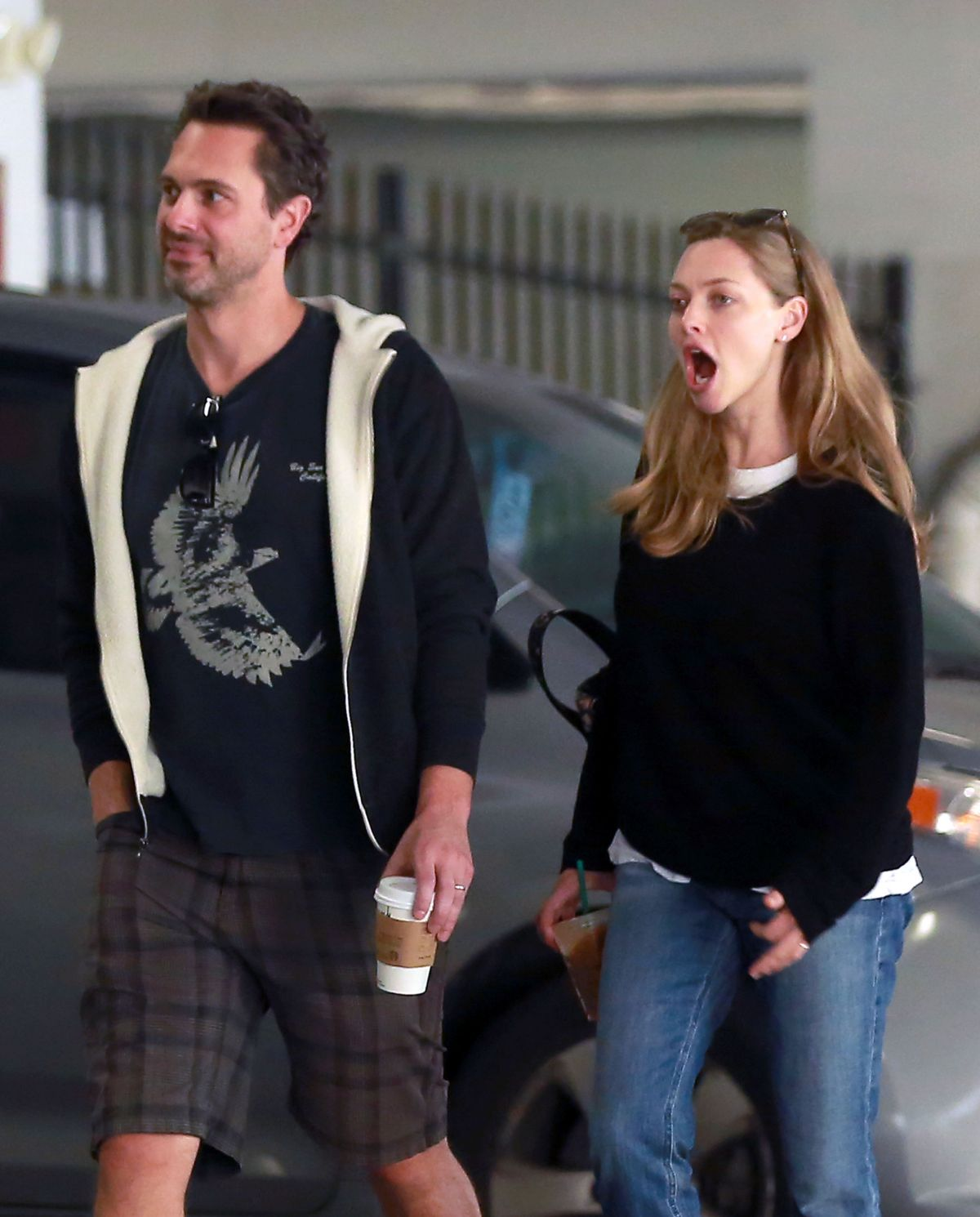 AMANDA SEYFRIED and Thomas Sadoski at a Starbucks in Los Angeles 04/11/2017