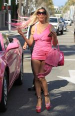 ANGELIQUE FRENCHY MORGAN in Tight Dress Out in Beverly Hills 04/05/2017