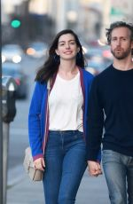 ANNE HATHAWAY and Adam Shulman Out for Dinner in Los Angeles 04/07/2017