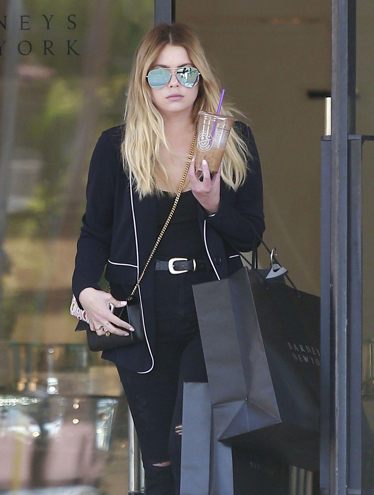 ASHLEY BENSON Leaves Barneys in Beverly Hills 04/14/2017