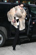 BELLA HADID in Fur Coat Out in New York 04/04/3017