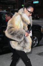 BELLA HADID in Fur Coat Out in New York 04/04/3017