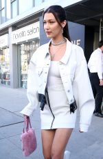 BELLA HADID in Short Skirt Out in New York 04/05/2017